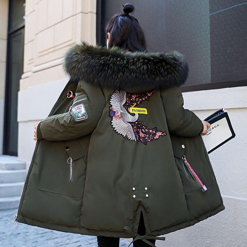 Зимняя куртка женская меховая парка с капюшоном длинные пальто с вышивкой зимнее пальто с хлопковой подкладкой женские теплые утолщенные куртки Feminina D284