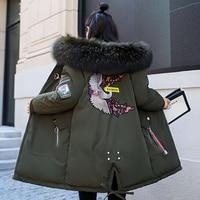 Winter Jacket Women Fur Hooded Parka Long Coats embroidery Cotton Padded Winter Coat Women Warm Thicken Jaqueta Feminina D284