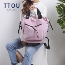 TTOU النايلون على ظهره النساء حقائب ظهر عادية السيدات قدرة عالية العودة إلى حقيبة مدرسية في سن المراهقة الطلاب السفر Mochila بولسا