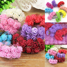 144PCS/Pack Mini Foam Fake Rose Artificial Flower Candy Box Decoration(China)