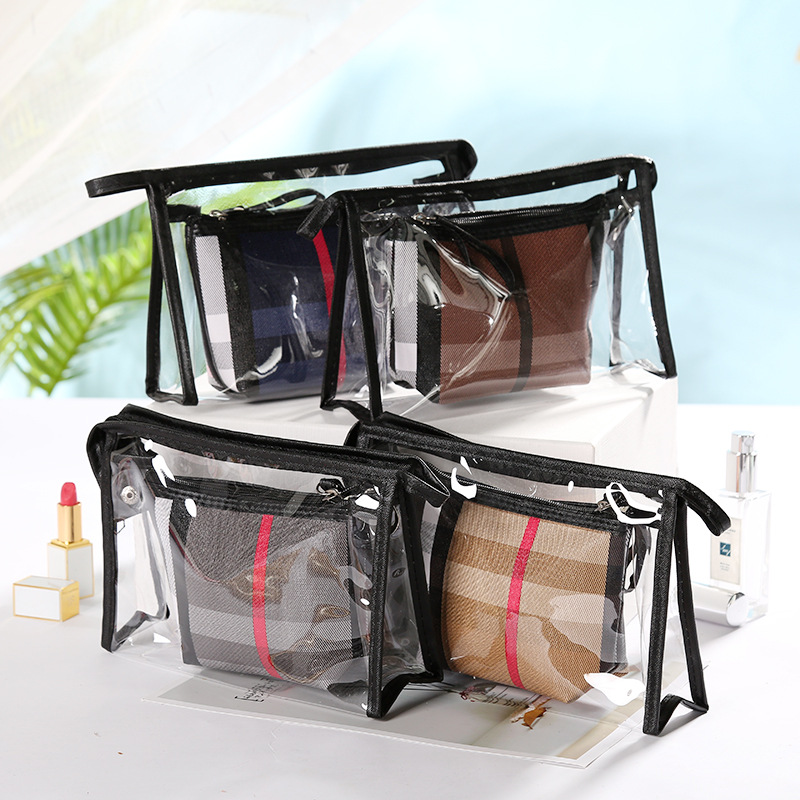 New Style 2pcs Plaid Cosmetic Bag Set Toiletry Travel Wash Makeup Case Pouch Kits Leather makeup bag organizer image