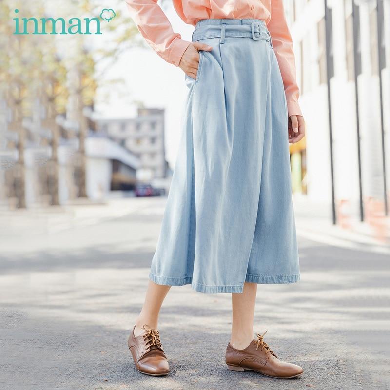 INMAN 2020 Summer New Arrival Lyocell Letter Belt Literary Leisure Denim Skirt