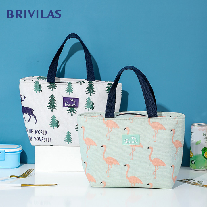Brivilas New Flamingo Portable Lunch Bag For Women Waterproof Travel Storage Food Bags School Breakfast Picnic Bag Fashion Box