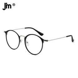 JM Ultralight Round Computer Glasses Women Men Anti Blue Light Blocking Transparent Glasses Frame