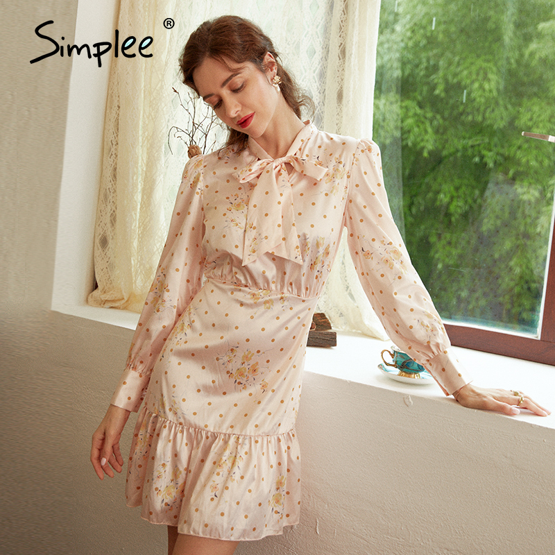 Simplee Elegant round neck polka dot dress Women solid lantern apricot dress Loose holiday autumn chic bow long party dress