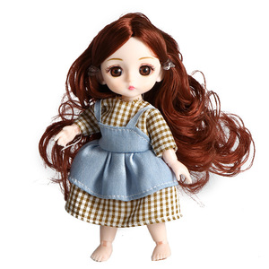 Cute 13 Movable Jointed Body 16cm Dolls with Clothes Mini BJD Baby Doll Fashion Baby Girls Dress Dolls Toy For Girl Gifts(China)
