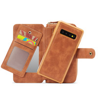 Wallet Zipper Phone Case for Galaxy S10+ S10 S10e S9 S8 S7 PU Leather Kickstand Shell Card Slot Cover for Samsung Note8 Note9