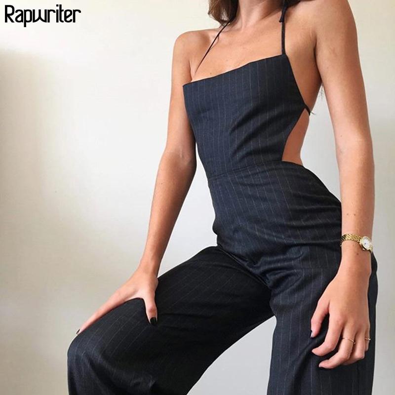 Rapwriter Streetwear Vertical Stripes Baggy Sexy Overalls Women 2020 Summer Sleeveless High Waist Ladies Rompers Jumpsuit Femme