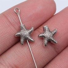 WYSIWYG-20 piezas de plata antigua de 10x10mm, cuentas de estrellas de mar para fabricación de joyería DIY, accesorios de joyería