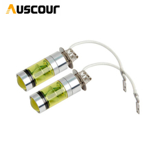 100W fog light lamp h3 golden yellow 3000k  with projector lens function h3 h4 h7 h11 hb3 hb4 fog lamp modify