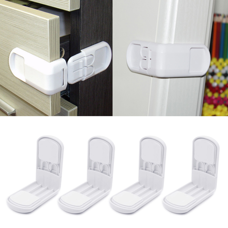 New Baby Soft 4pcs Baby Child Lock Safety Drawer Cabinet Door Angle Care Protection Tool Hot