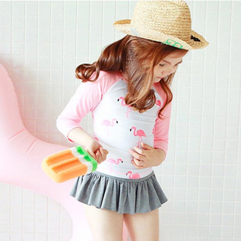 Girl'S Swimsuit Children AliExpress Baby Sun-resistant Long Sleeve Split Skirt-Flamingo Swimwear GIRL'S Tour Bathing Suit