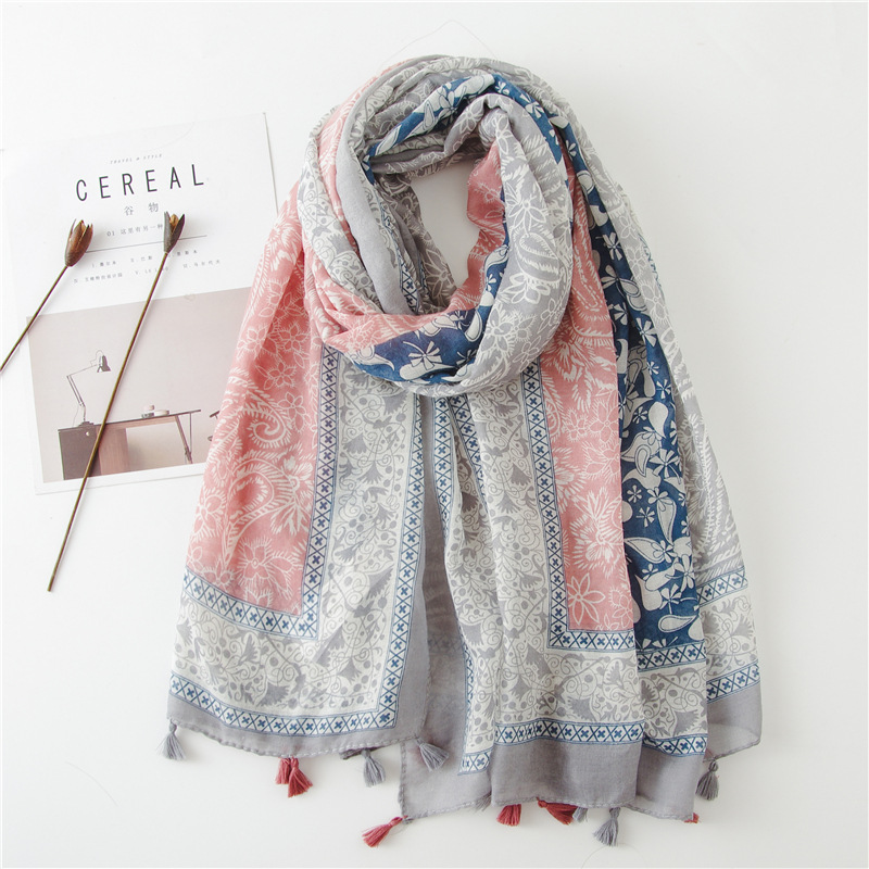 2019 Spain Fashion Cashew Floral Patchwork Viscose Shawl Scarf Women High Quality Pashmina Stole Bufandas Muslim Hijab 180*90Cm