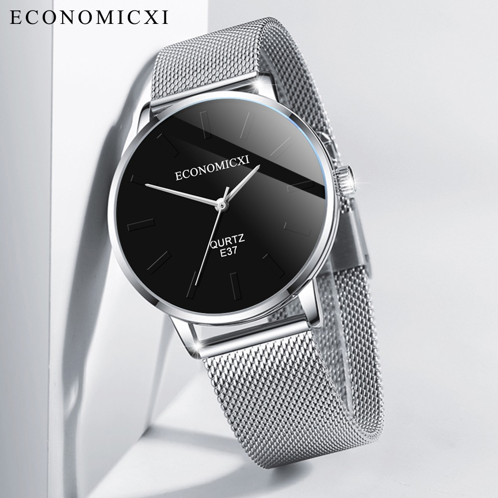 ECONOMICXI Men's Fashion Business Stainless Steel Mesh Belt Simple Wild Quartz Watch часы мужские