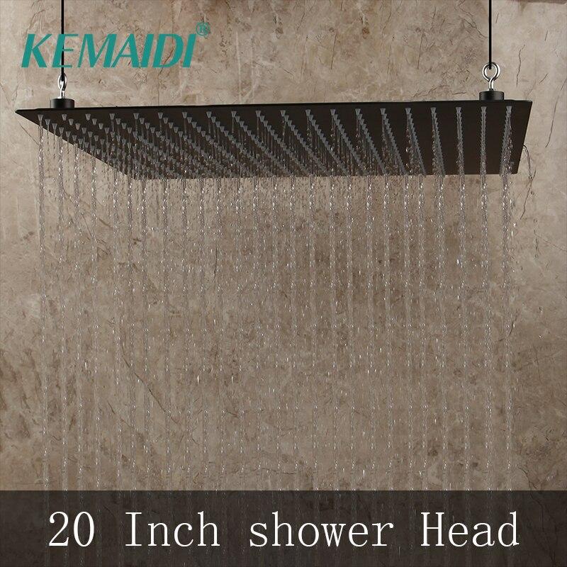 KEMAIDI 20 pouces noir rond et carré pluie inox pomme de douche ultra-mince choix salle de bain mur et plafond monté