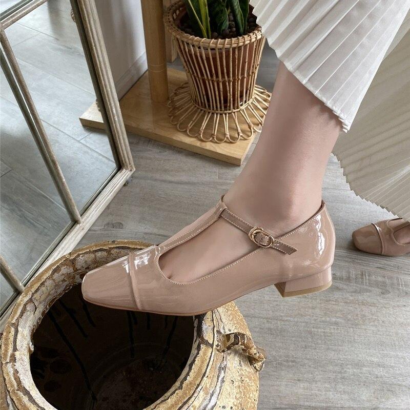 Egonnerie cuir naturel Mary Jane chaussures vin rouge en forme de T à lacets talons bas chaussures printemps mignon femme thé fête chaussures de danse lolita - 4
