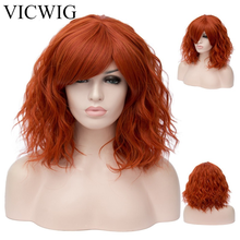 VICWIG Synthetic Curly Orange Wig with Bangs Short Wigs for Women Hair Pink purple Green Heat Resistant