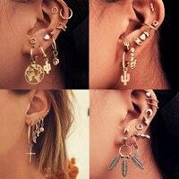 Vintage mixte métal goutte boucles d'oreilles ensemble pour femmes femme or cristal lune étoile carte croix petite manchette pince bijoux de mode
