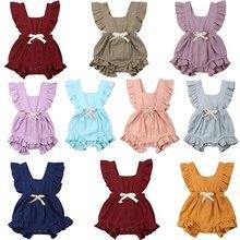 Новинка, 11 цветов, прочный комбинезон с оборками для новорожденных девочек, одежда, летняя одежда