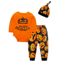 2020 3Pcs Halloween Pumpkin Newborn Infant Baby Boys Girl Top Long Sleeve Romper Bodysuit Legging Pants Hat Outfits Set Clothes цены онлайн