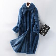 Women's coat winter fur coat female sheep shearling coat wool coat female plus size thick coat female fashion blue white coat coat ardatex