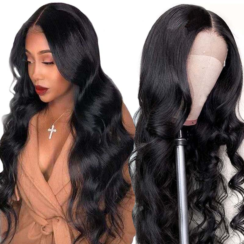 Lace Closure Wig Human Hair Wigs Body Wave Natural Color Brown Lace Front Wig For Black Women Peruvian Dorisy Non Remy Hair