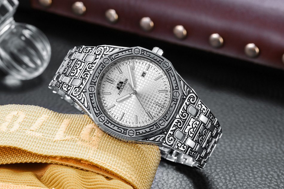 Hc2d0538dd54a4c42bd1079e5eb1e5e50L Men Carved Antique Vintage Luminous Rose Gold Yellow Gold Silver 2 Tones Fashion Blue Classic Quartz luxury watch
