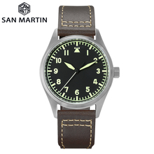 Men Watch Mechanical Pilot San Martin Military Vintage Titanium Nh35 Automatic Waterproof