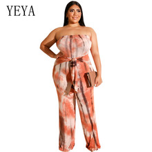YEYA Plus Size 4XL 5XL Sexy Strapless Off Shoulder Maxi Jumpsuits Femme Sleeveless Big Playsuits with Belt Vintage Rompers