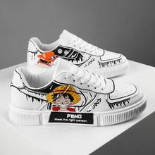 Hot Fashion Cartoon Original Skateboard Shoes Autumn White Printed Sneakers Women Low cut Hip hop Lace up Unisex Sport Shoes