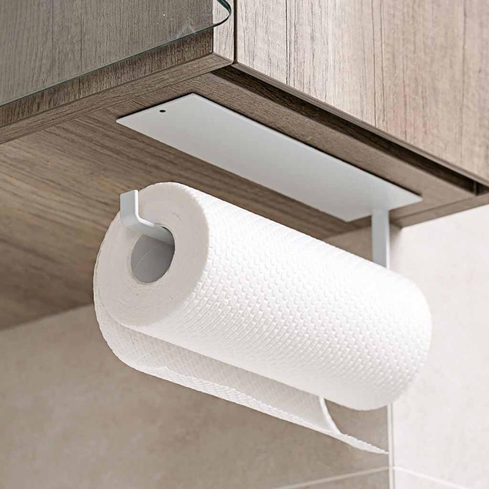 Soporte de toalla autoadhesivo de papel montado en la pared Estante de papel en rollo de acero inoxidable con tornillos para cocina debajo del gabinete