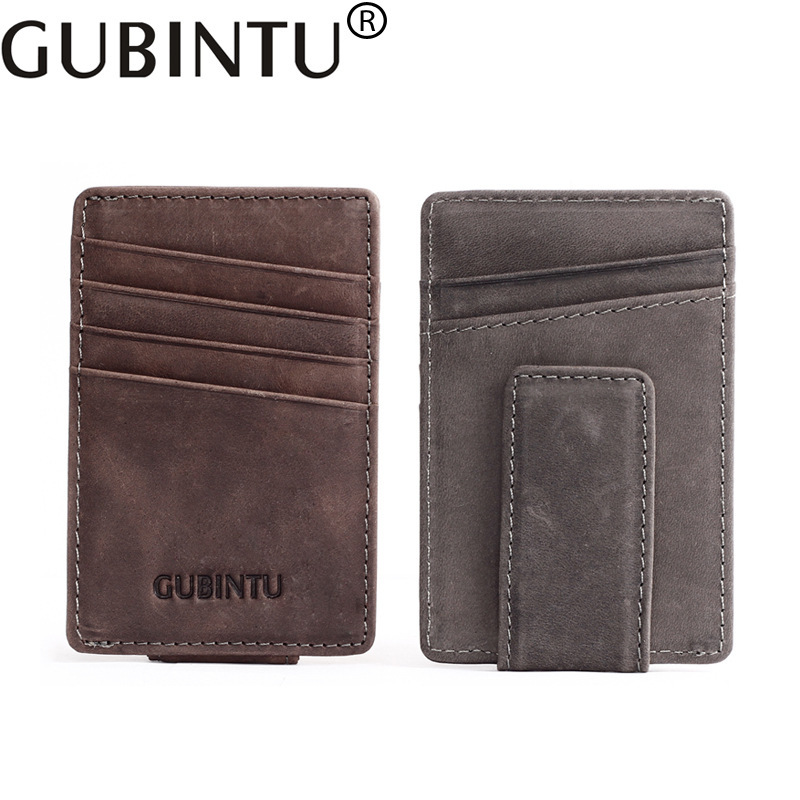 Genuine Leather Mini Slim Cash Women Men Holder Clamp For Money Clip I Male Female Wallet Purse With Card Bill Thin Coins Pocket
