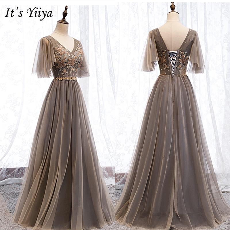 It's Yiiya Evening Dress 2019 Short Sleeve V-Neck A-Line Formal Dresses Elegant Embroidery Floor Length Dresses Plus Size E985