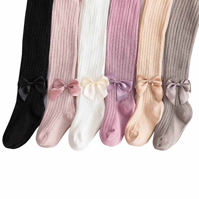 Infant Baby Girls Stockings Newborn Knitted Cotton Warm Lovely Bow Children Pantyhose