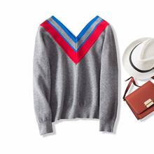 Autumn winter girl sweater V-neck pullover new arrival stitching regular loose gray casual women sweater s3(China)