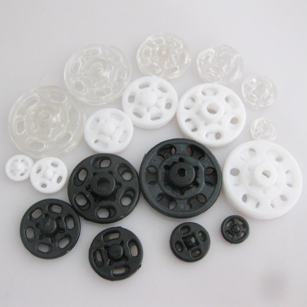 Круглые нейлоновые пуговицы 7 мм/10 мм/13 мм/15 мм/20 мм, черные/белые/прозрачные, 300 комплектов, аксессуары для шитья одежды