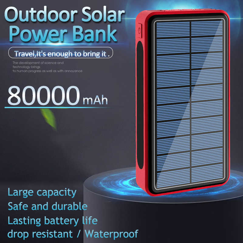 80000Mah Solar Power Bank Solar Panel Waterdicht En Stofdicht Outdoor Emergency 3 Led Light Charger Voor Xiaomi Samsung Iphone