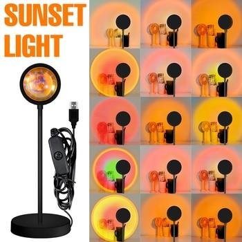 LED Projection Lamp Sunset Light Night LED Sunset Bulb Color Lamp 5V USB Rainbow Lamp Desk LED Decoration Atmosphere Lighting 2
