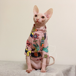 Meow Deven T Shirt Sphinx Clothes Hairless Cat Clothes Pet Supplies Cat Flower Clothes XS XL
