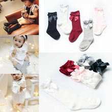 Носки для маленьких девочек милые Гольфы с бантиками для малышей длинные гетры для детей