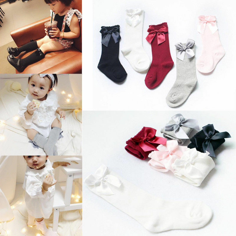 Baby Girls Socks Knee High With Bows Cute Baby Socks Long Tube Kids Leg Warmer