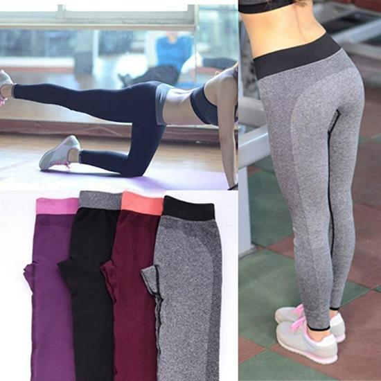 Women's Casual Work Out Fitness Breathable Gym Wear Capris Pants Trousers