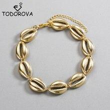 Todorova concha pulseira de ouro cowry concha pulseiras boêmio moda praia natural concha feminino pulseiras jóias