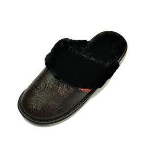 Image 5 - Hakiki Inek Deri terlik çift kapalı kaymaz erkekler kadınlar ev moda rahat ayakkabılar PVC yumuşak tabanı kışlık 611GP