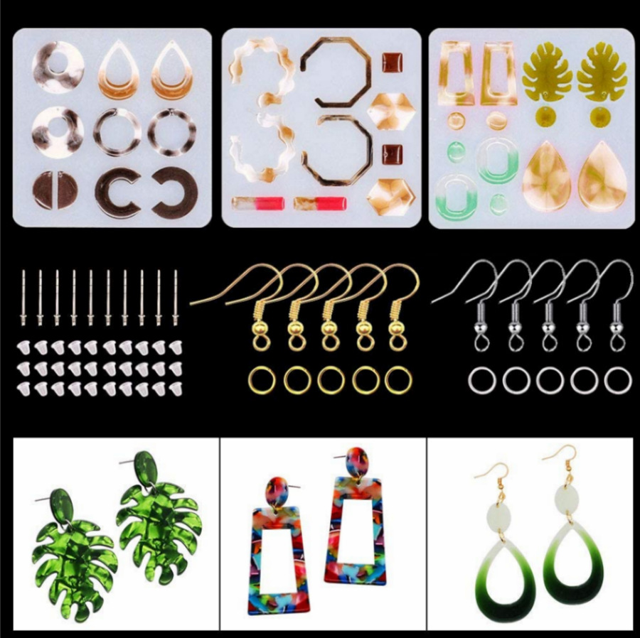 Resin Jewelry Silicone Molds Earring Making Kit with Bohemian Drop Dangle Epoxy Casting Molds Rings for Resin Jewelry Making