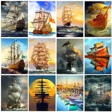 Алмазная живопись с лодкой, Набор для вышивки крестиком, алмазная вышивка, пейзаж, корабль, парусное море, Алмазная мозаика, квадратная выши...
