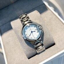 גברת באיכות גבוהה שעונים איש/נשים relogio כסף мужские часы יוקרה שעון פלדת אופנה כחול בלון שעוני יד reloj mujer