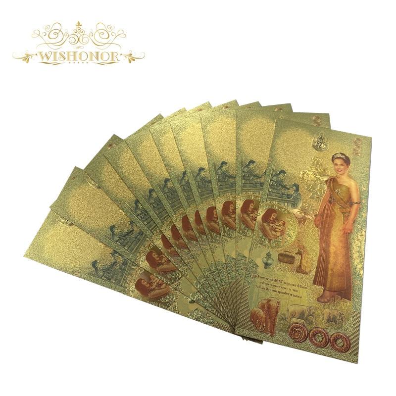 Новинка 2020 г., банкноты из Таиланда, банкноты с золотым покрытием в 100 купюр, 24 К, для подарка, 10 шт./лот