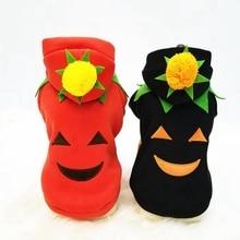 Sun Flower Pattern Pet Clothes Pumpkin Smile Dog Cotton Suit Cute For Halloween Party