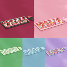 Multi-Color Wireless Keyboard and Mouse Combo,2.4GHz Cordless Round Key Fashion Keypads for Laptop, Computer,Pink Keyboards